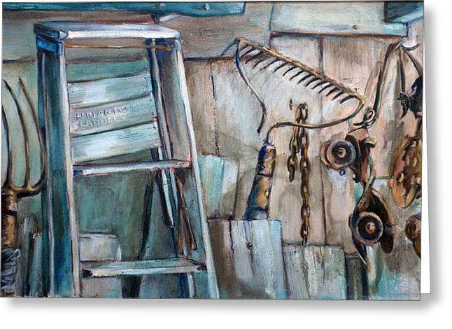 Roller Skates Paintings Greeting Cards - Rusty Tools Greeting Card by Jean Groberg