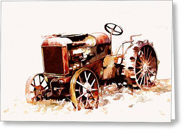 Suni Roveto Greeting Cards - Rusty Tractor In The Snow Greeting Card by Suni Roveto