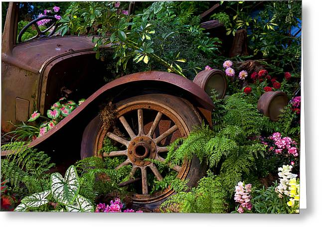 Steering Greeting Cards - Rusty truck in the garden Greeting Card by Garry Gay