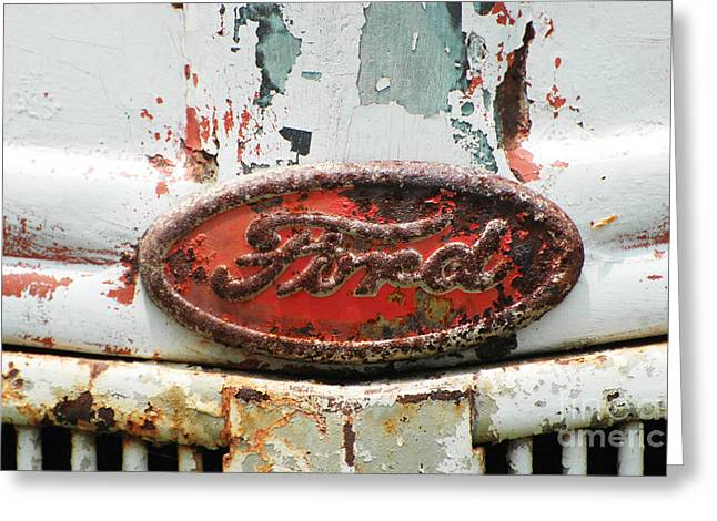 American Car Greeting Cards - Rusty Vintage White Ford Sign Greeting Card by Anahi DeCanio