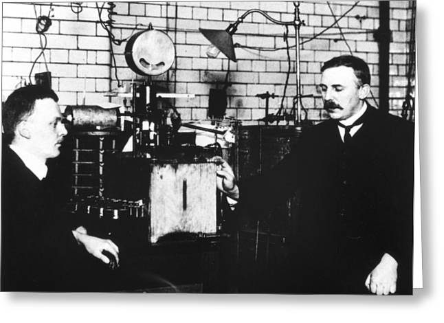 Atomic Structure Greeting Cards - Rutherford And Geiger In Laboratory Greeting Card by Prof. Peter Fowler