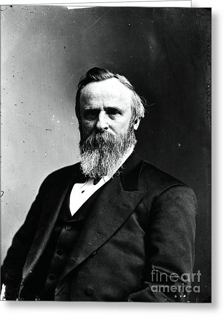 """post Civil War"" Greeting Cards - Rutherford B. Hayes, 19th American Greeting Card by Photo Researchers"
