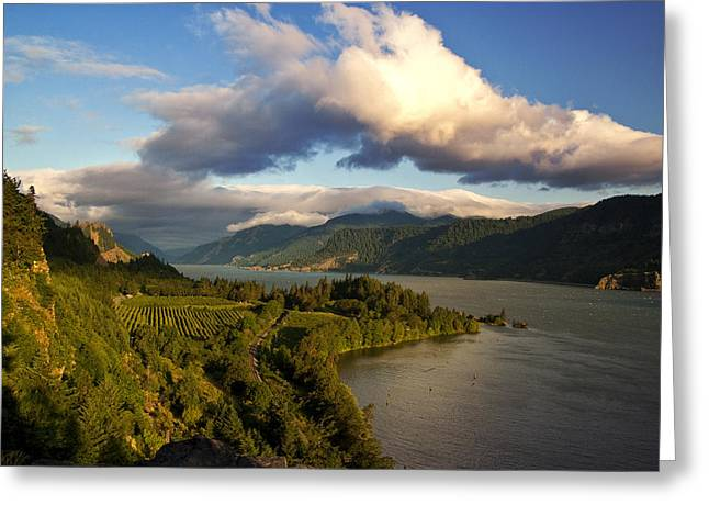 Hood River Oregon Greeting Cards - Ruthton Point Morning Greeting Card by Jon Ares