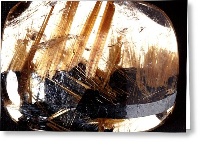 Ore Greeting Cards - Rutile And Haematite In A Quartz Crystal Greeting Card by Dirk Wiersma