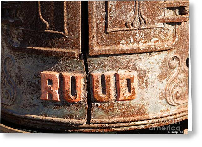 Spiderweb Art Greeting Cards - Ruud Water Heater Greeting Card by Methune Hively