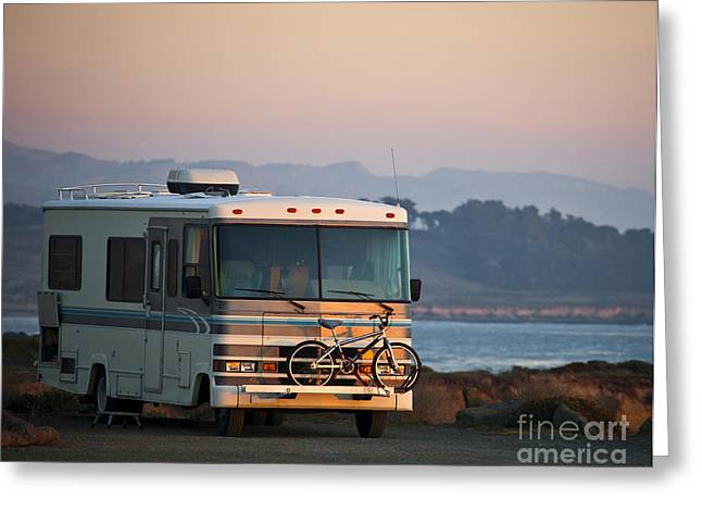 Pch Greeting Cards - RV Caped Along the Coast Greeting Card by David Buffington