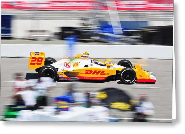 Ryan Hunter-reay Greeting Cards - Ryan Hunter-Reay exiting pit  road Greeting Card by Jarvis Chau