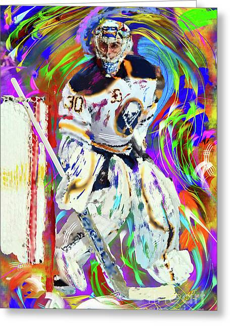 Hockey Paintings Greeting Cards - Ryan Miller Greeting Card by Donald Pavlica