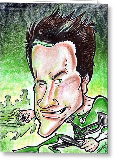 Iroatethis Drawings Greeting Cards - Ryan Reynolds Greeting Card by Big Mike Roate