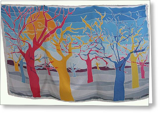 Earth Tapestries - Textiles Greeting Cards - RYB Trees Greeting Card by Rollin Kocsis