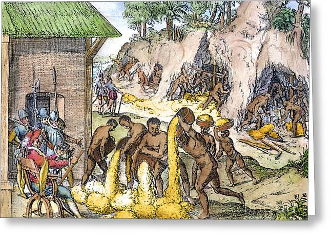 1596 Greeting Cards - S. American Slaves, 1596 Greeting Card by Granger