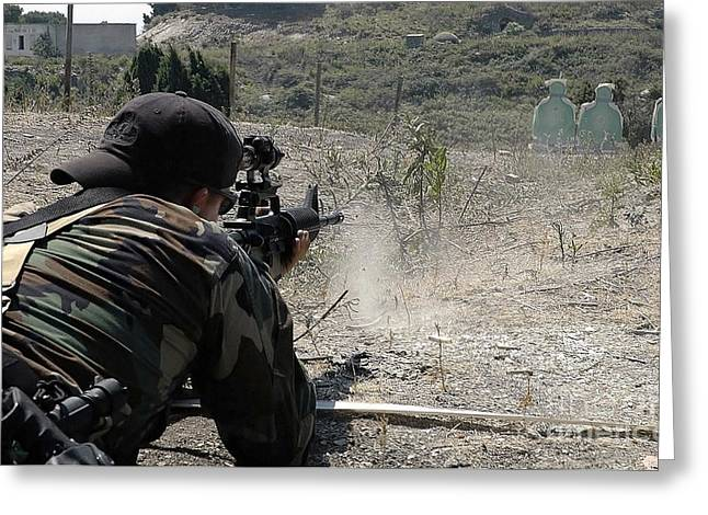 Target Field Greeting Cards - .s. Navy Quartermaster Fires His 5.56mm Greeting Card by Stocktrek Images