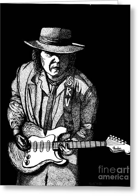 Guitar Player Drawings Greeting Cards - S . R . V Greeting Card by Nick Gustafson