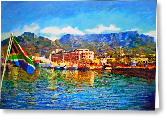 Cape Town Paintings Greeting Cards - SA Flag at the Waterfront Greeting Card by Michael Durst