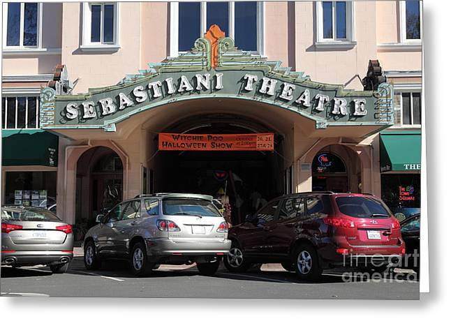 Sonoma Greeting Cards - Sabastiani Theatre - Downtown Sonoma California - 5D19273 Greeting Card by Wingsdomain Art and Photography