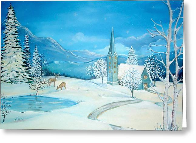 Religious Paintings Greeting Cards - Sabbath Snow Greeting Card by Astrid Padilla