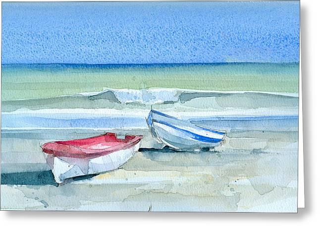 Stephanie Aarons Greeting Cards - Sabinillas Fishing Boats Greeting Card by Stephanie Aarons