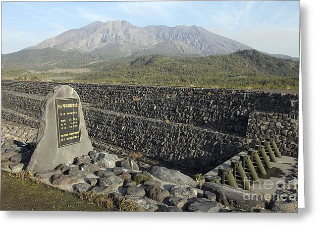 Stone Memorial Photography Greeting Cards - Sabo Channel At Haramatsu River Greeting Card by Richard Roscoe
