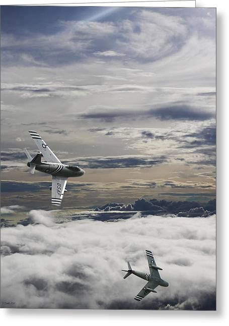 Air Shows Greeting Cards - Sabre Dance In MIG Alley Greeting Card by Peter Chilelli