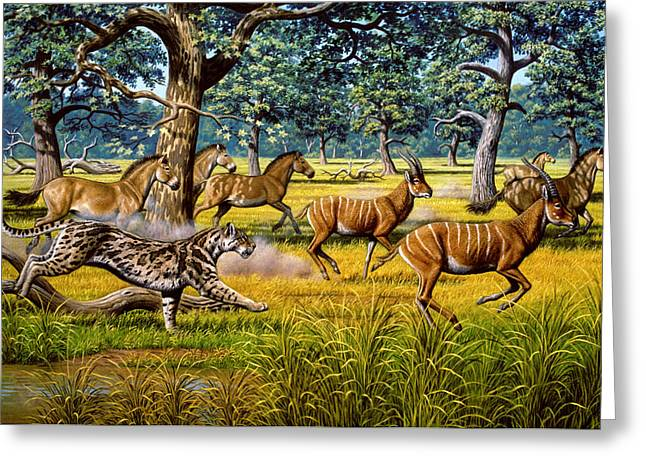 Sharp Teeth Greeting Cards - Sabre-toothed Cat Chasing Prey Greeting Card by Mauricio Anton
