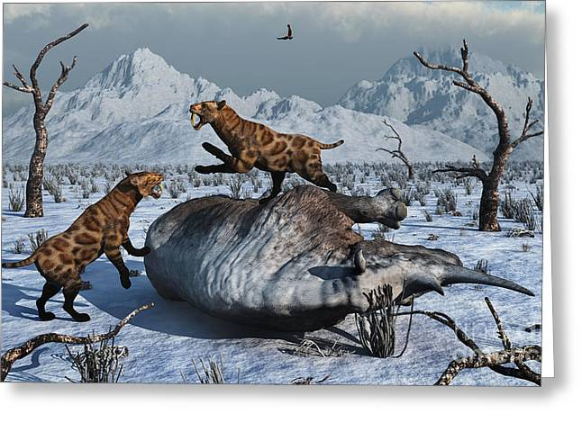 Snow-covered Landscape Digital Greeting Cards - Sabre-toothed Tigers Battle Greeting Card by Mark Stevenson