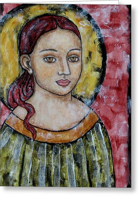 Religious Art Paintings Greeting Cards - Sabrina Greeting Card by Rain Ririn