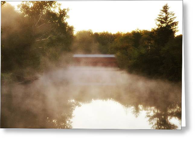 Covered Bridge Greeting Cards - Sachs Covered Bridge in the Mist Greeting Card by Bill Cannon