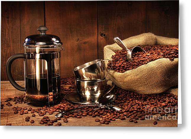 Stainless Steel Photographs Greeting Cards - Sack of coffee beans with french press Greeting Card by Sandra Cunningham