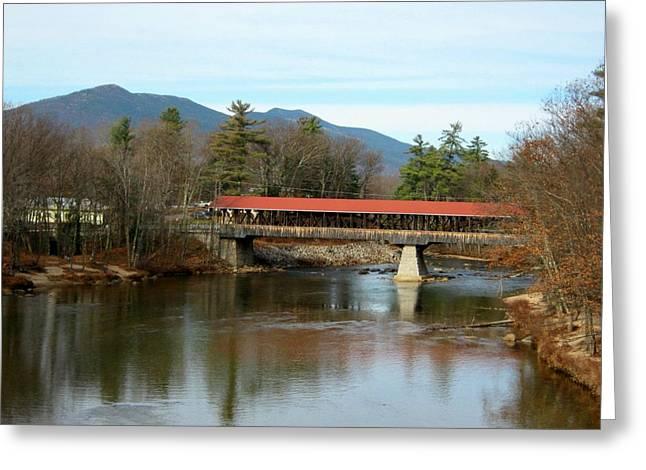 Covered Bridge Greeting Cards - Saco River Covered Bridge Greeting Card by Wayne Toutaint