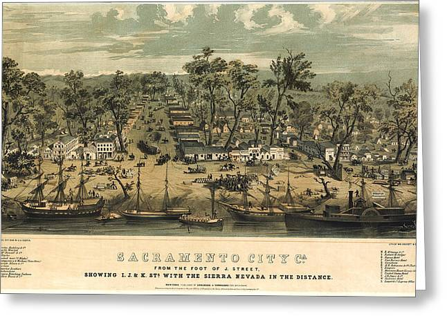 Sacramento California 1850 Greeting Card by Donna Leach