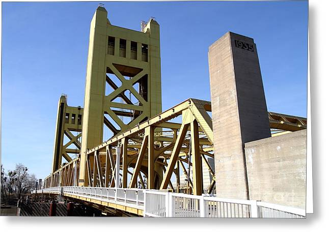 Sacramento California Tower Bridge Crossing The Sacramento Delta River . 7d11553 Greeting Card by Wingsdomain Art and Photography