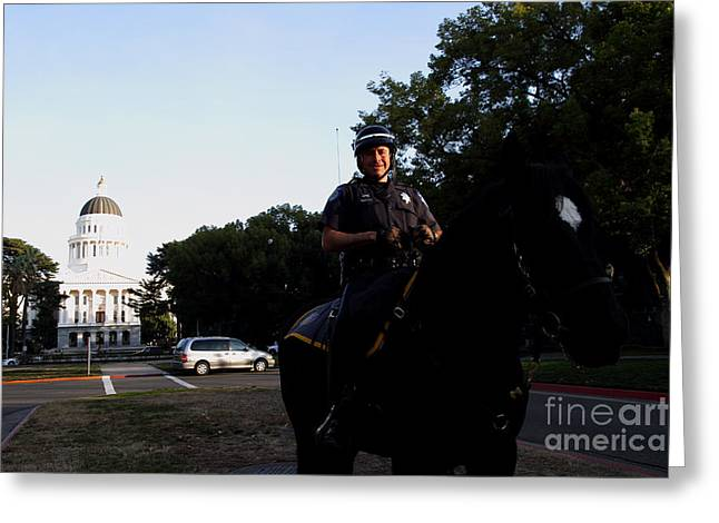 Police Department Greeting Cards - Sacramento Police Mounted Association Horse Patrol At The California State Capitol . SPMA . 7D11785 Greeting Card by Wingsdomain Art and Photography