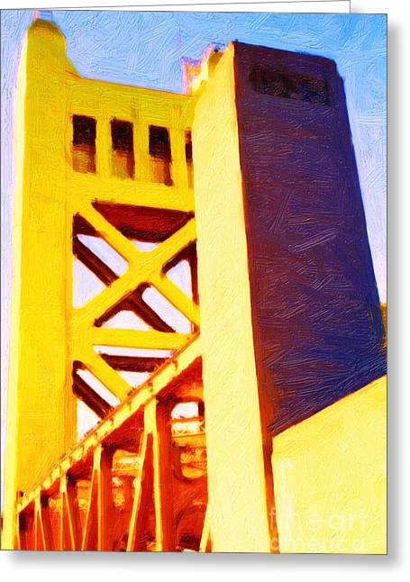 Backroad Digital Art Greeting Cards - Sacramento Tower Bridge In Abstract - 7D11564 Greeting Card by Wingsdomain Art and Photography