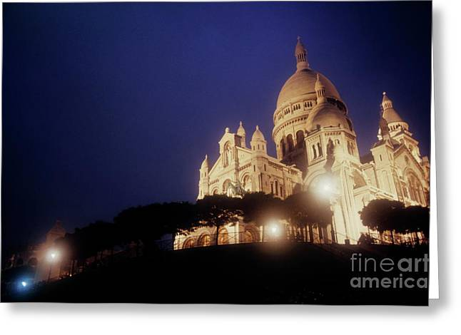 Sami Sarkis Greeting Cards - Sacre Coeur lit up at night with flood lights Greeting Card by Sami Sarkis