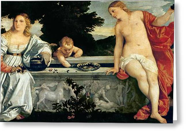 Amour Greeting Cards - Sacred and Profane Love Greeting Card by Titian