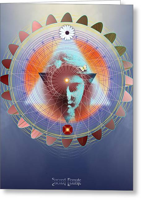 Sacred Digital Art Greeting Cards - Sacred Female Greeting Card by Arie Van der Wijst