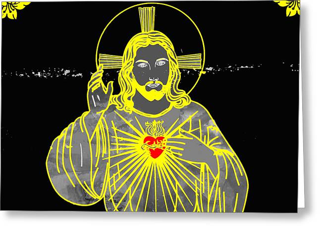 Sacred Heart Greeting Card by Al Bourassa
