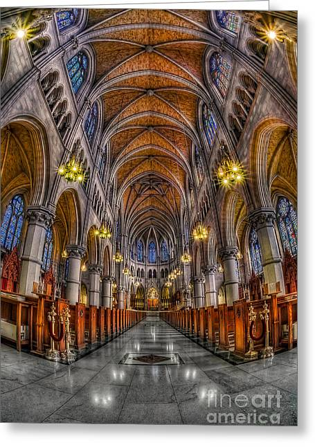 Virtuous Greeting Cards - Sacred Heart Basilica Greeting Card by Susan Candelario
