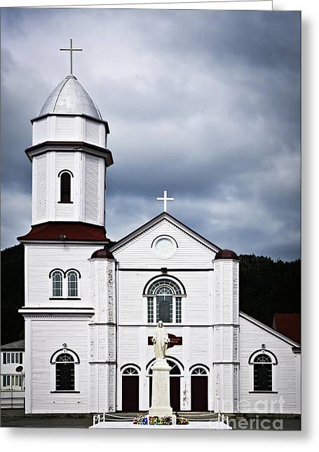 Christian Sacred Greeting Cards - Sacred Heart Church in Placentia Newfoundland Greeting Card by Elena Elisseeva