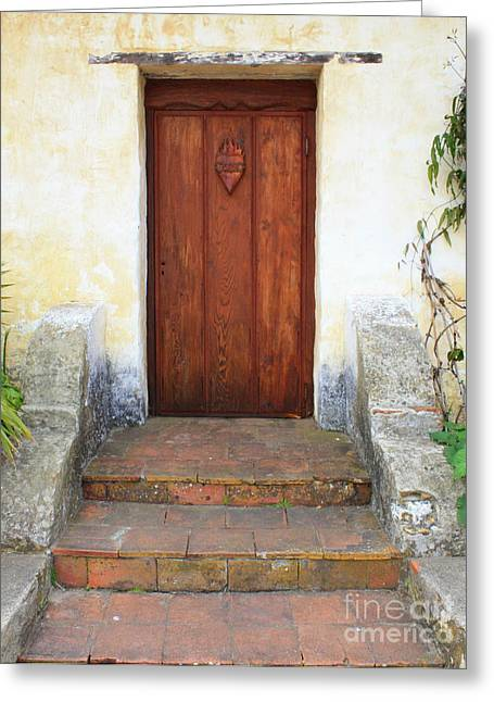 Stoops Greeting Cards - Sacred Heart Door Greeting Card by Carol Groenen