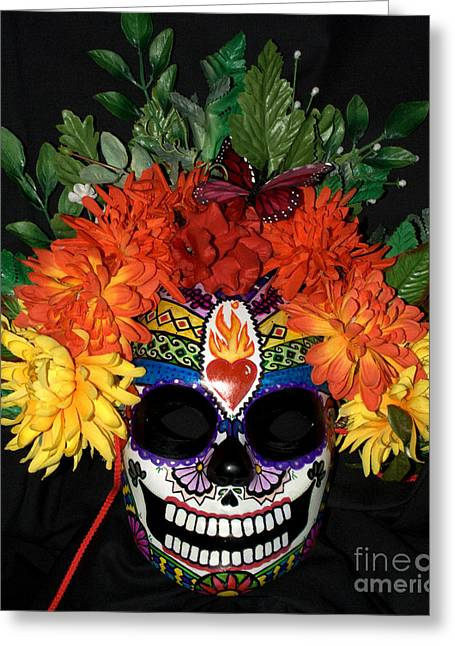Rainbow Sculptures Greeting Cards - Sacred Heart Sugar Skull Mask Greeting Card by Mitza Hurst