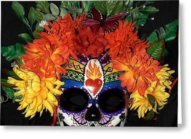 Sacred Heart Sugar Skull Mask Greeting Card by Mitza Hurst