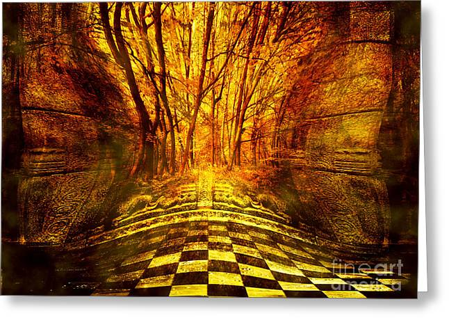 Mystic Art Greeting Cards - Sacred Temple of the Trees Greeting Card by Jenny Rainbow