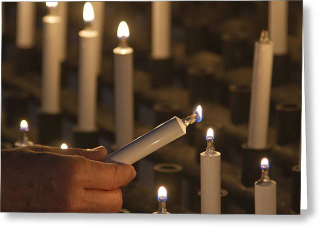 Candle Lit Greeting Cards - Sacrificial Candles 3 Greeting Card by Heiko Koehrer-Wagner