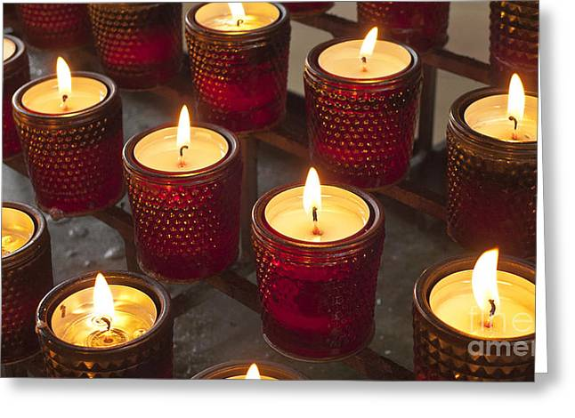 Candle Lit Greeting Cards - Sacrificial Candles Greeting Card by Heiko Koehrer-Wagner