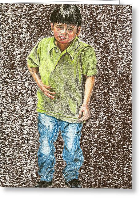 People Pastels Greeting Cards - Sad Child Greeting Card by Jim Barber Hove