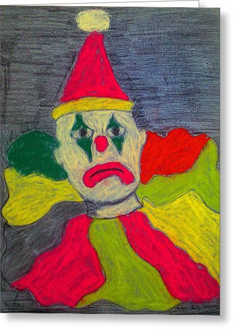 Sad Clown Greeting Card by Robyn Louisell