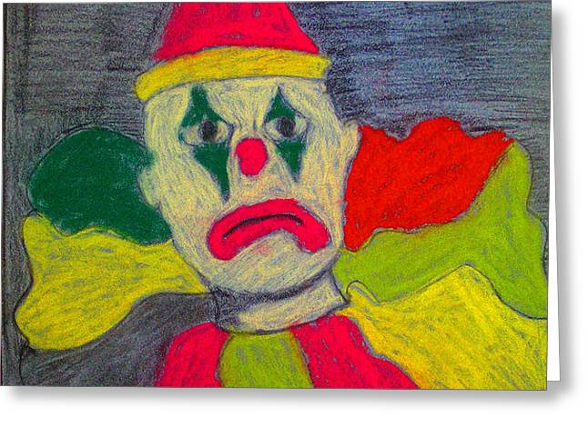 Sad Clown Greeting Card by Robyn Louisell