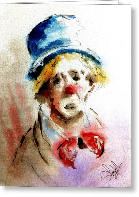 Fine_art Greeting Cards - Sad Clown Greeting Card by Steven Ponsford