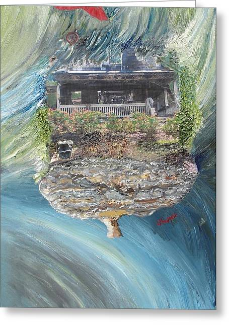 On Fire Mixed Media Greeting Cards - Sad House2 Your Dreams flew Away Greeting Card by Lisa Kramer